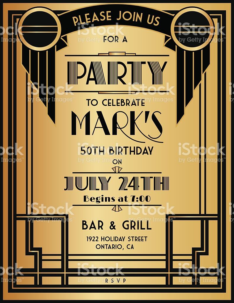 Art deco birthday party invitation template the invitation has a art deco party invitation template in black and gold royalty free stock vector stopboris Images
