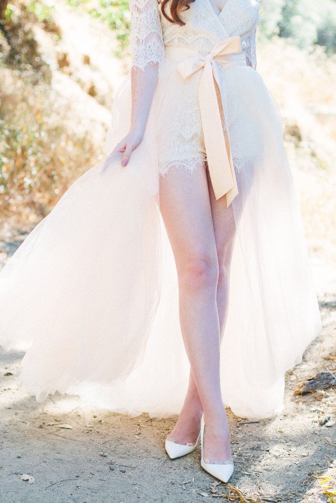 e7afa2ab593 Sheer drape tulle skirt in blush paired with white lace romper
