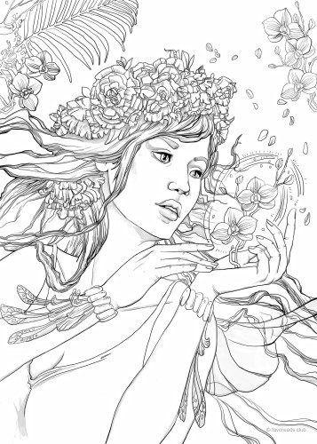 Fantasy Girl Beautiful Ladies Printable adult coloring