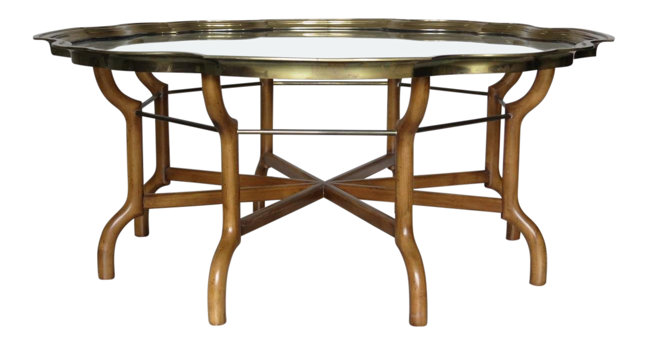 Awe Inspiring Vintage Baker Scalloped Brass And Glass Tray Top Coffee Theyellowbook Wood Chair Design Ideas Theyellowbookinfo