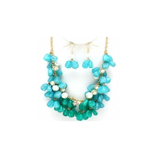 Rachal's Turquoise Glass Stone & Pearl Accented Cluster Necklace Set ❤ liked on Polyvore