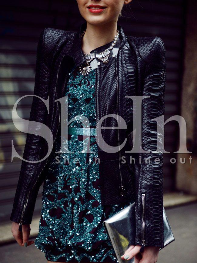 Shop Black Long Sleeve PU Leather Zipper Jacket online