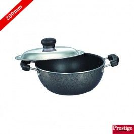 Prestige Kadai Buy Prestige Omega Select Plus Non Stick Flat Base Kadai 200 Mm With Stainless Steel Lid Onli The Prestige Induction Cookware Dining Room Small