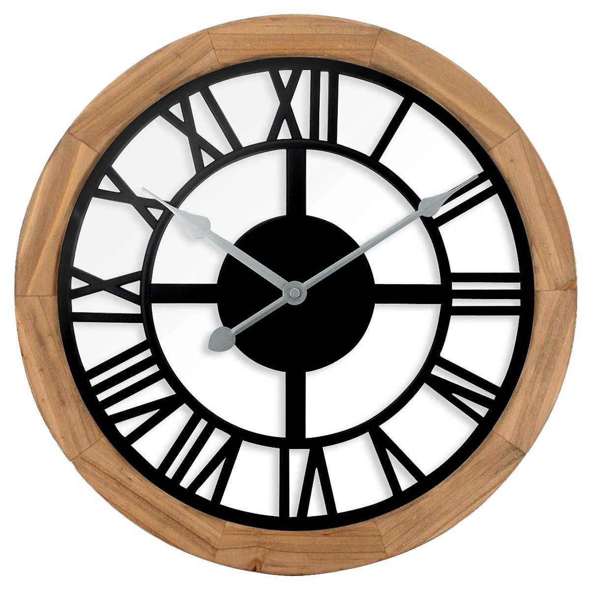 Westclox 15 Window Pane Style Wood Wall Clock Wall Clock Glass Wood Wall Clock Wall Clock