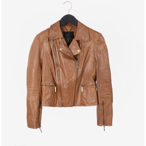 BCBG Maxazria  Motorcycle Jacket ($179) ❤ liked on Polyvore featuring outerwear, jackets, zip jacket, leather motorcycle jacket, leather jackets, motorcycle jackets and biker jacket