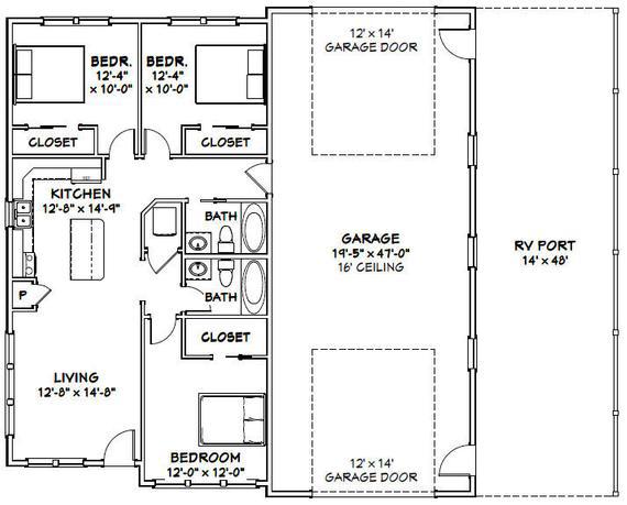 46x48 House 3 Bedroom 2 Bath 1 157 Sq Ft Pdf Floor Plan Instant Download Model 3a Barn Homes Floor Plans Shop House Plans Barndominium Floor Plans