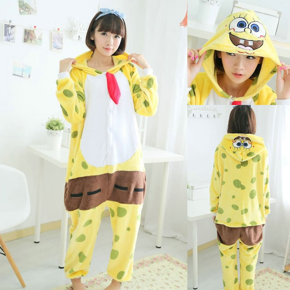 d5555dee36 JP Anime SpongeBob SquarePants kigurumi onesies pajamas Pajama Costume