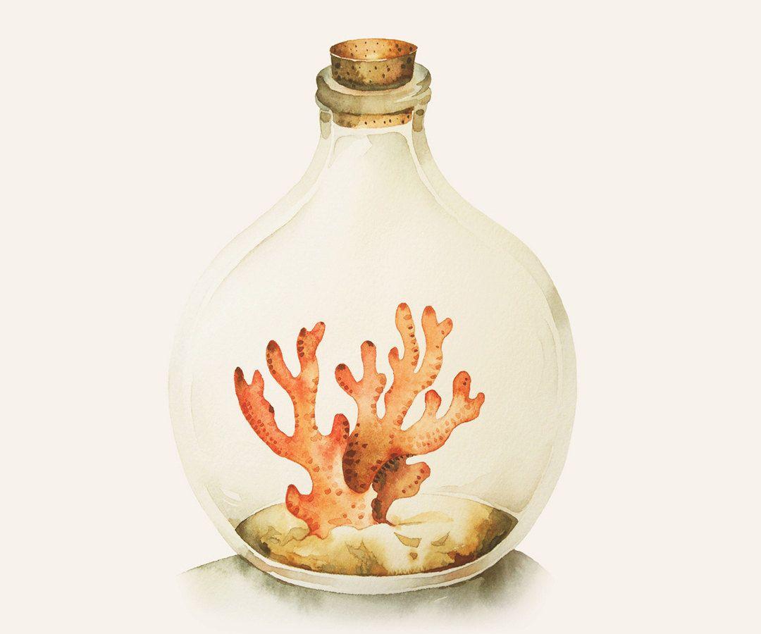 Acquerello pittura acquerello corallo il mare è di blackteacafe
