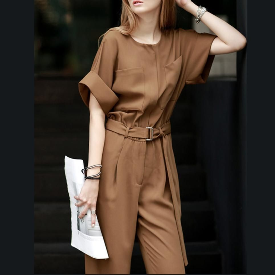Casual Jumpsuit Summer Overalls for Women Short Sleeve Elegant Pant Suit Lace up Combination Clothes #casualjumpsuit