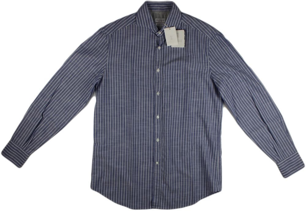 BRUNELLO CUCINELLI BLUE STRIPE COTTON SHIRT-SIZE SMALL-MADE IN ITALY #BRUNELLOCUCINELLI
