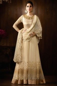 0cdbc9dc4d Off White Indian Designer Party Wear Net Floor Length Anarkali #offwhite  #gold #designer #partywear #indian #bollywood #anarkali #suit #karma  #gebastore