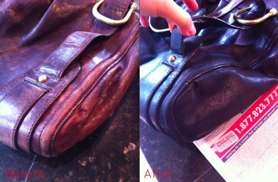 Customer photo of a leather purse before and after treatment with Leather  Honey. Leather Honey returned the faded, uneven color to a beautiful dark  brown. affa197c03