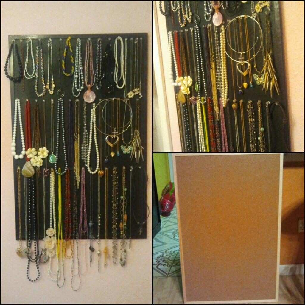Use spray painted corkboard to hang jewelry | DIY | DIY ...