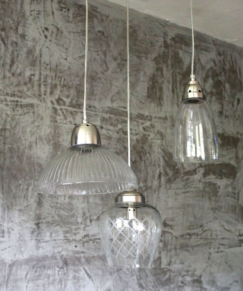 Lampen Landhausstil 3er Set Hängelampe Lampe Klassisch Glas Antique Shabby Chic