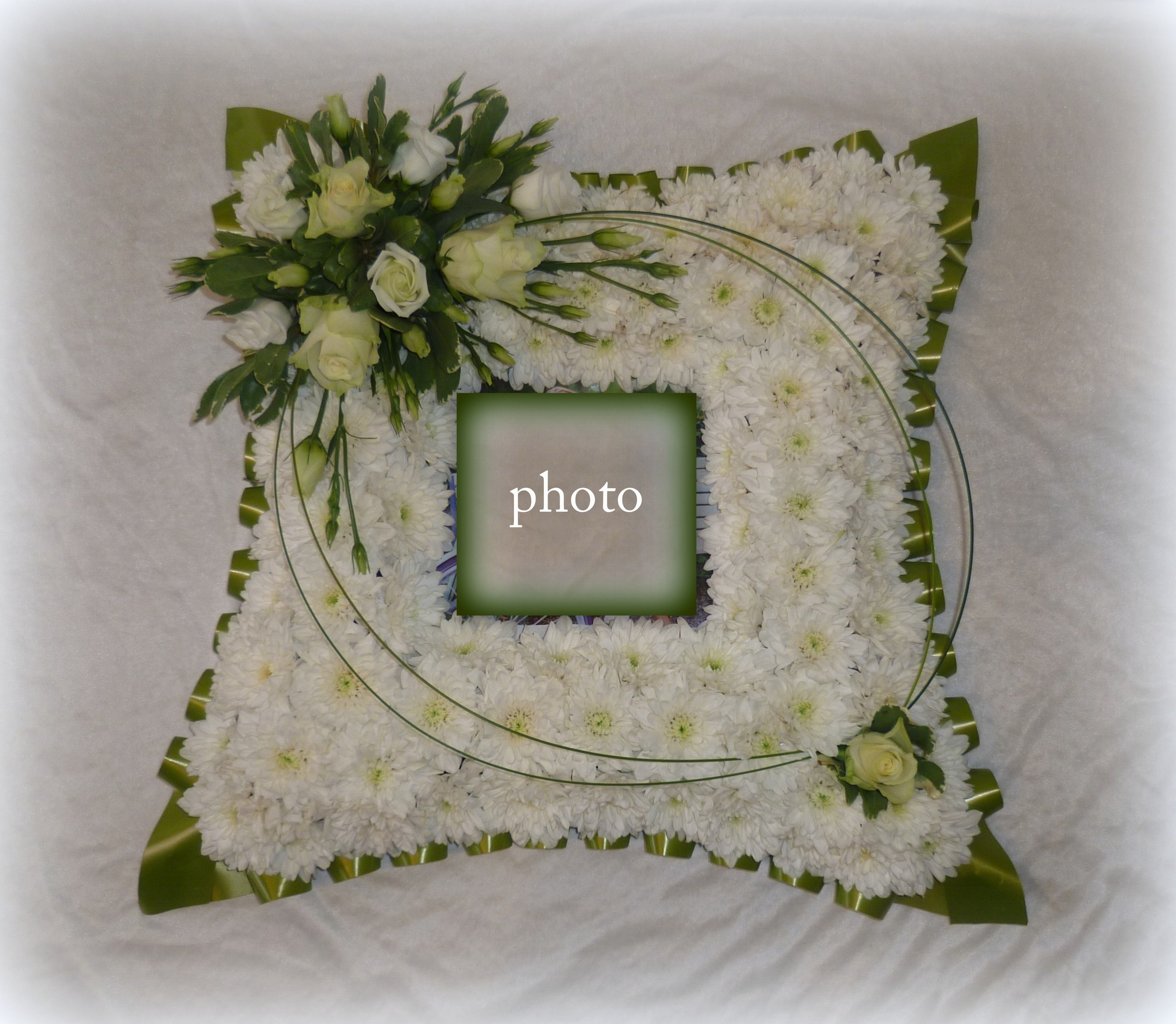 Low Cost Wedding Flowers: Picture Frame Photograph Floral Funral Tribute