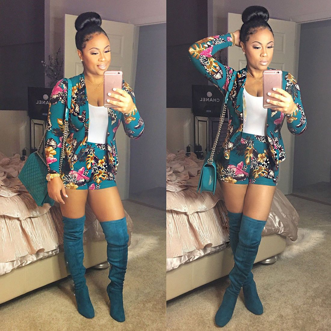 f032b98aa4a ... thigh high boots! Celebrity Summer Women Blazer Set Floral Suit With  Print High Waist Shorts Ht