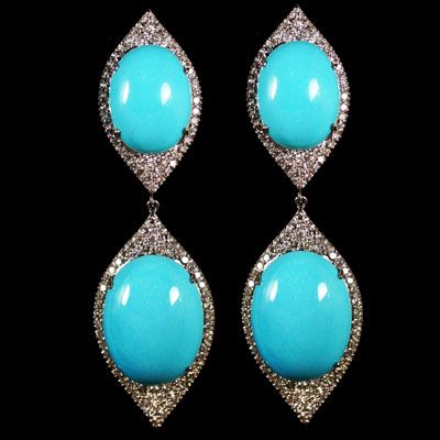 Turquoise and Diamond Earrings accompanied by 2.77 carats of Diamonds. Set in 14 karat White Gold.