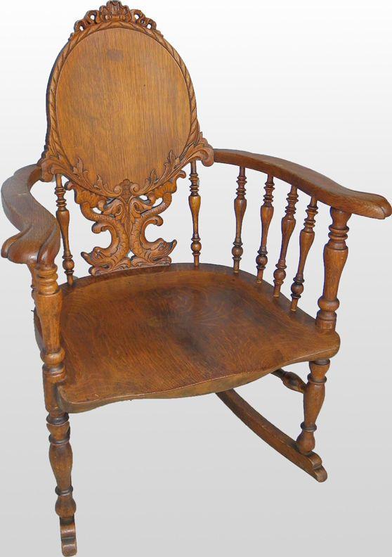 Fancy Victorian Antique Carved Oak Rocking Chair - Fancy Victorian Antique Carved Oak Rocking Chair Quartersawn Oak