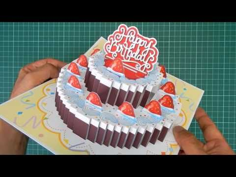 Birthday Cake PopUp Card 3 Original Designs YouTube – Birthday Cake Pop Up Card Template