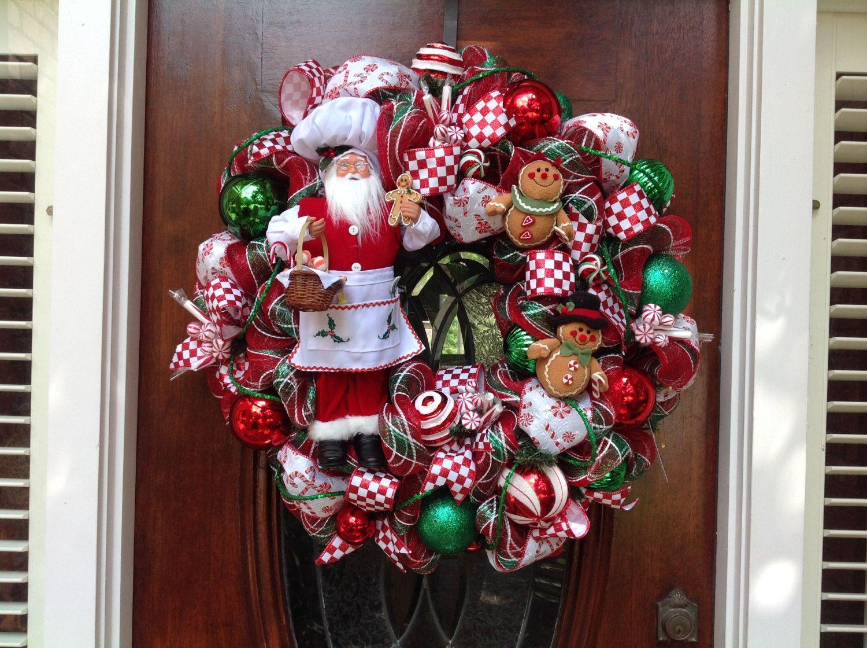 Santa Chef Christmas Wreath by HertasWreaths on Etsy