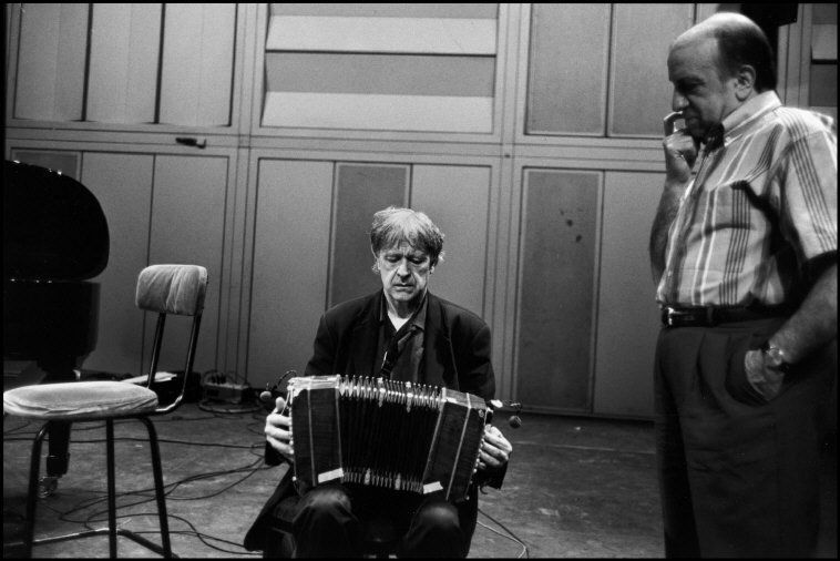 Guy Le Querrec  FRANCE. Paris. 4th arrondissement. M. SOLAL et M. PORTAL at IRCAM. 1996.  From left to right: French jazz musicians Michel PORTAL (clarinets, soprano saxophone, bandoneon) and Martial SOLAL (piano).