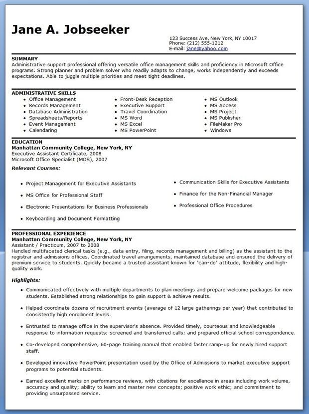 Resulta ng larawan para sa example of marketing administrative - sample of administrative assistant resume