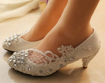 Lace Wedding Shoes Pearl Bling Flat Rhinestone