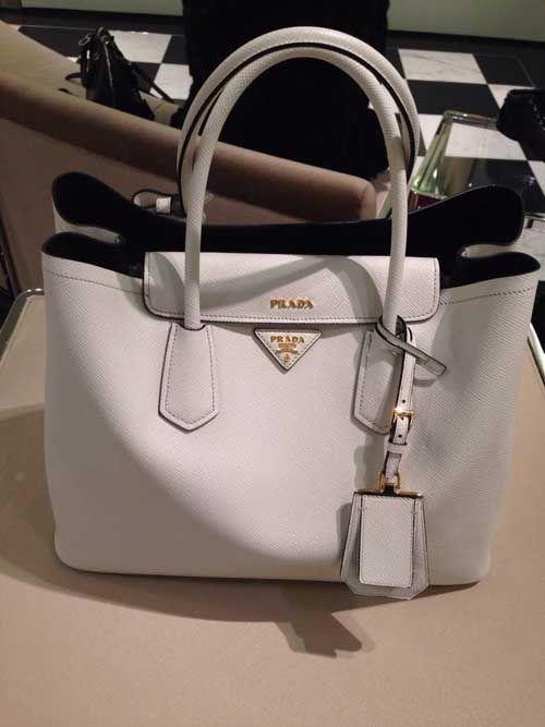 prada saffiano cuir double tote bag b2756t chalk white model prada .