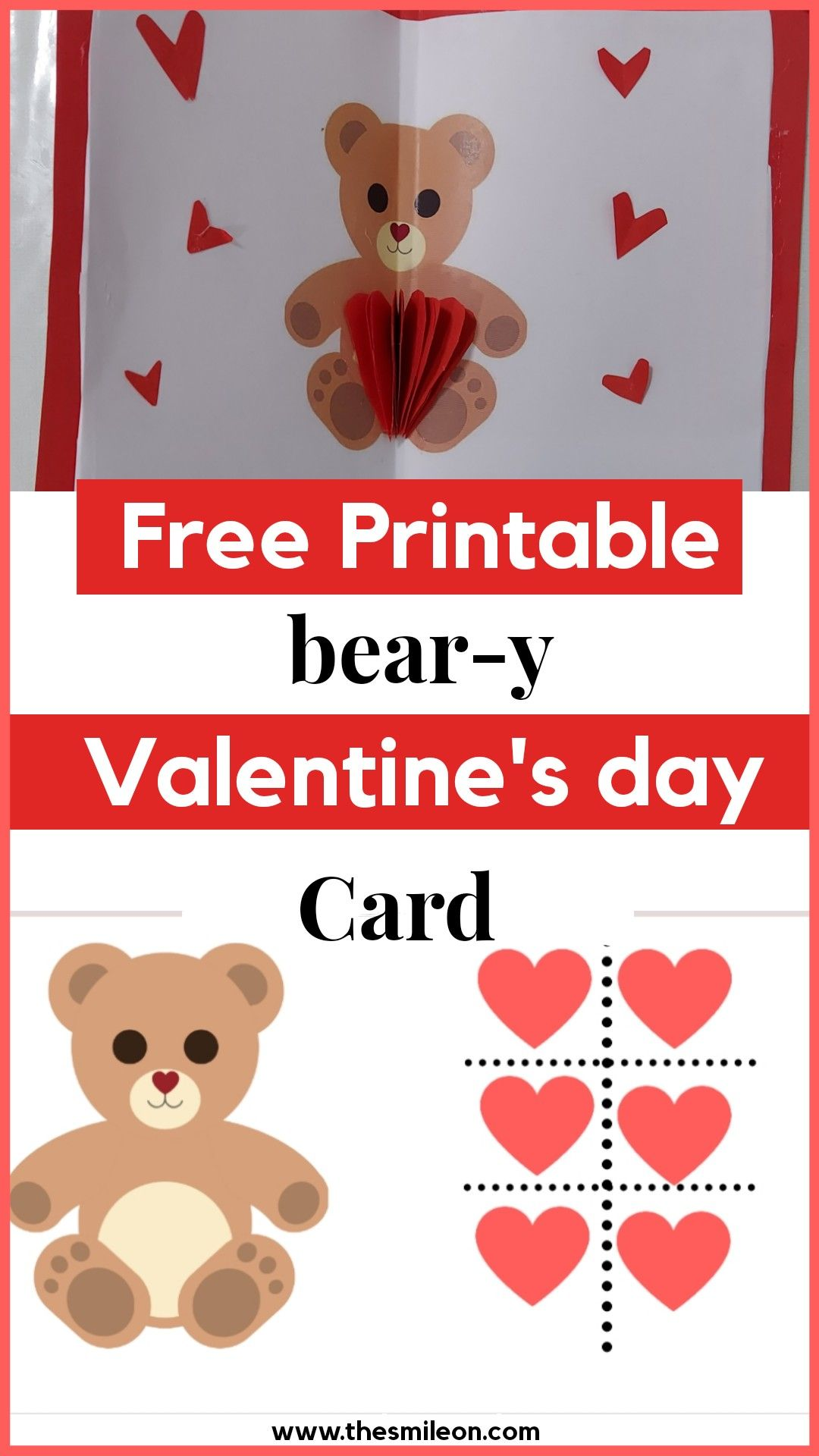 Free Printable Bear Valentine S Day Card In 2021 Bear Card Bear Valentines Valentines Day Coloring Page