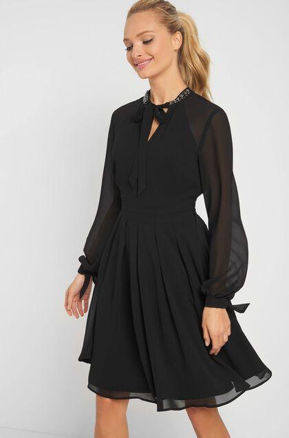 Kleid mit Schmucksteinchen - Schwarz | Abendkleid, Kleider ...