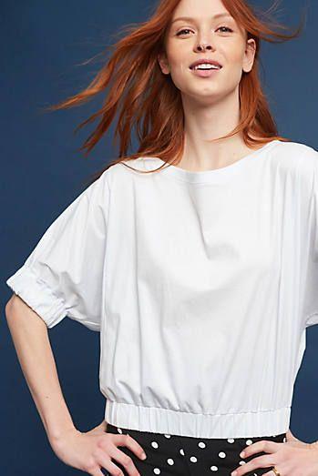 Leora Boat Neck Top White Hem Top Tops Fashion