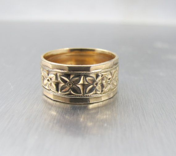 Victorian Wedding Band Ring Cigar Band Forget Me Not Flowers H