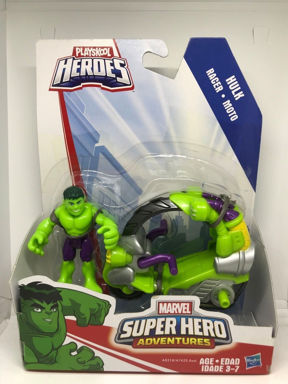 Playskool Heroes Marvel Super Hero Adventures Hulk Figure Tread Racer