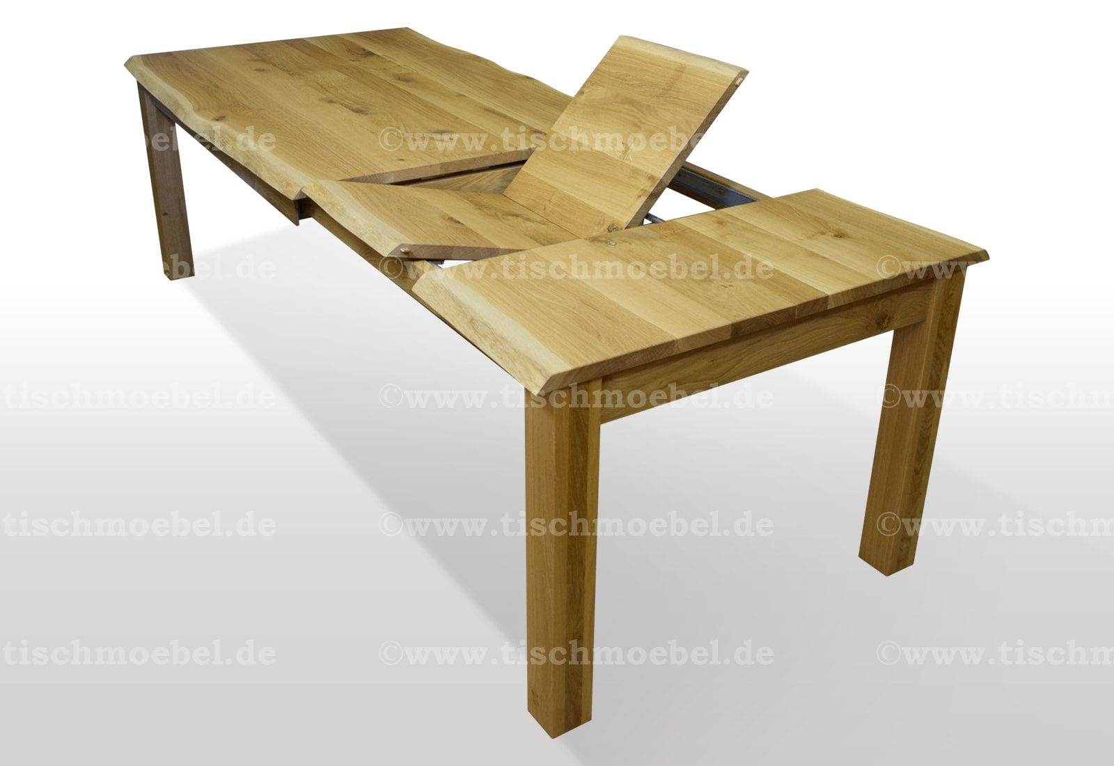 Tisch mit Naturkante hier mit Kopfkulissenauszug und