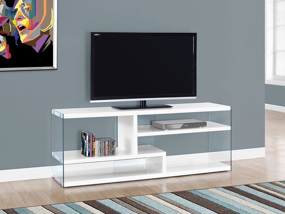 Tv Stand 60 Inch L Glossy White With Tempered Glass Products