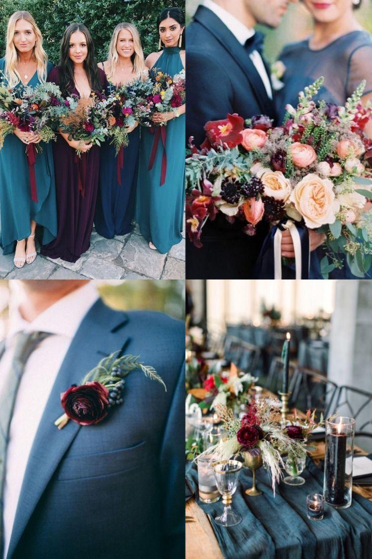 Dark Teal + Burgundy Wedding Color Ideas For 2020