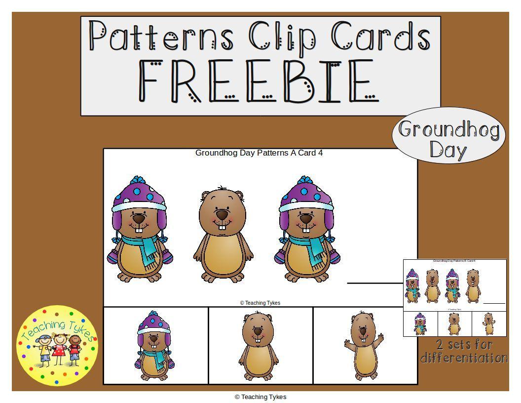Groundhog Day Patterns Task Clip Cards Freebie