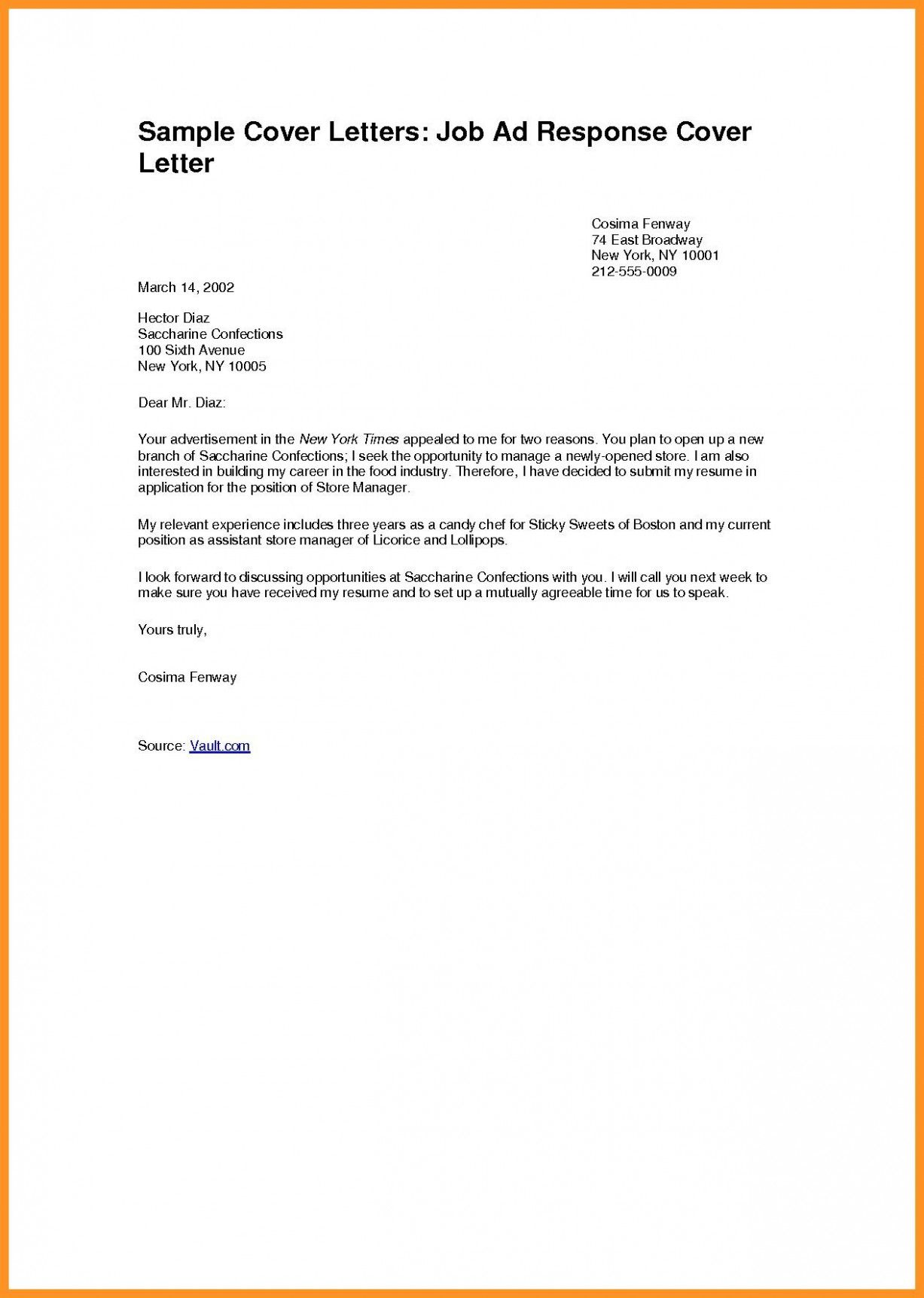 Pin On Cover Letter Example