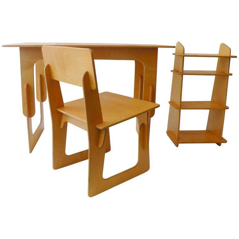 Plywood Three Piece Office Desk Set, Knock Down Furniture
