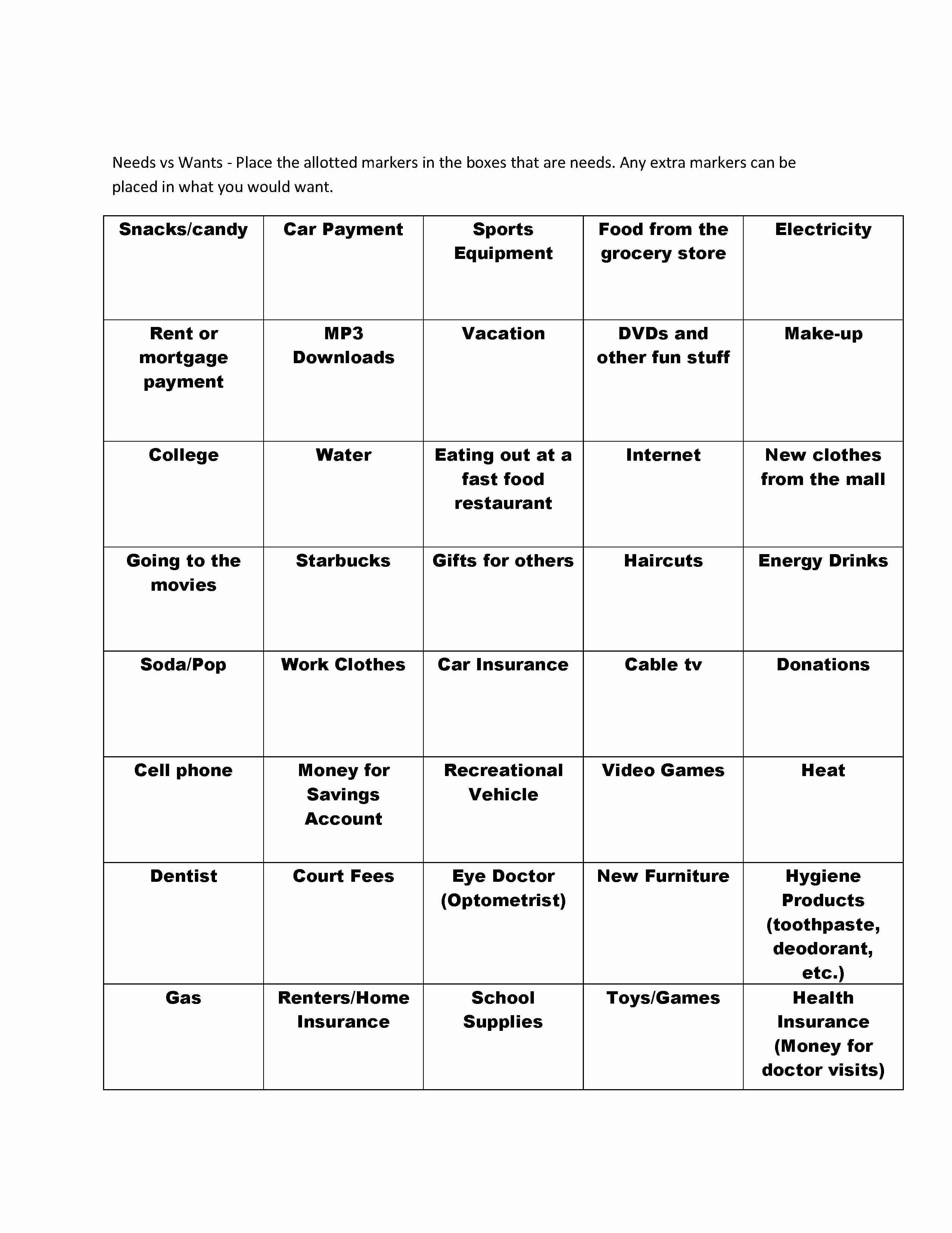 50 Wants Vs Needs Worksheet In