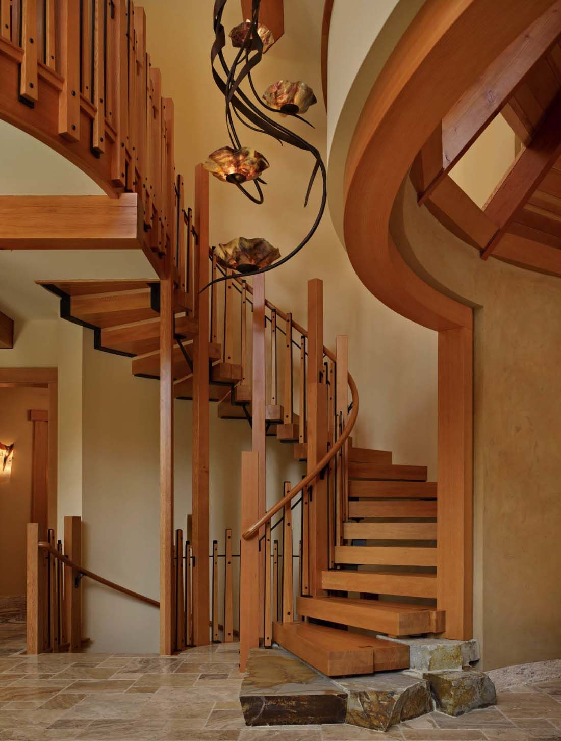 Home interior stairs rustic contemporary home nestled in secluded forests of washington