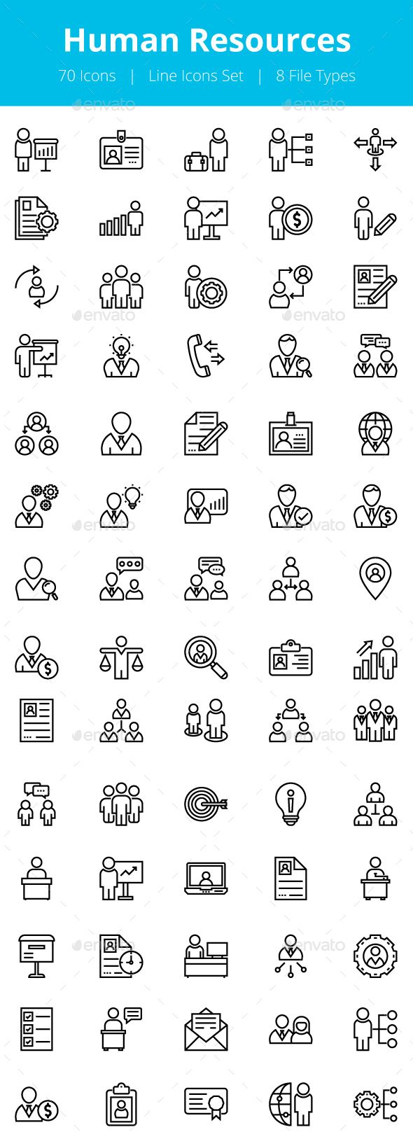 70 Human Resources Line Icons Human Resources Resources Icon Line Icon