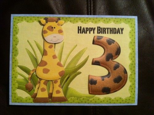 Giraffe Three Year Old Birthday Card Baby Cards Pinterest
