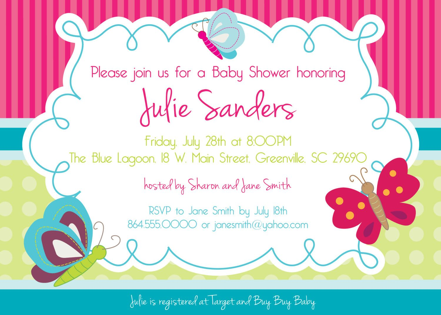 Printable Butterfly Baby Shower Invitation, Butterflies, Spring ...