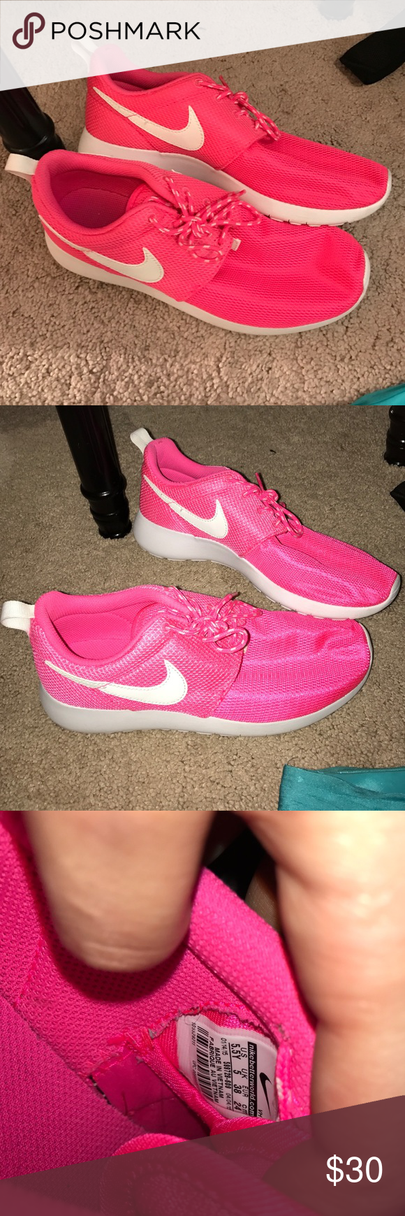 Nike NEON Roshes! Size 5.5 youth size 7 women's! Nike Shoes Athletic Shoes