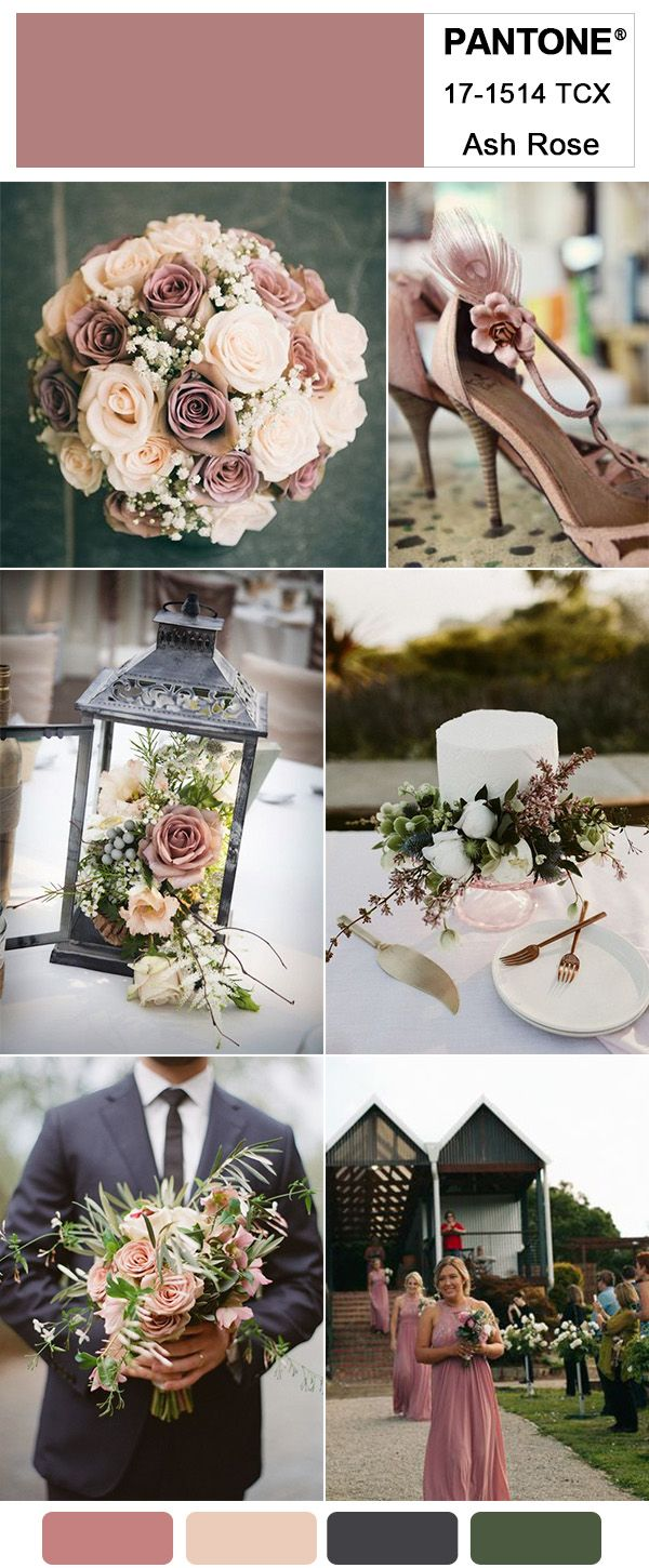 Gorgeous ash rose wedding colors for 2018 trends inspired by pantone dusty rose pink and dark grey farm wedding ideas junglespirit Images