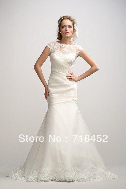 1920s Vintage Wedding Dresses Trumpet High Neck Cap Sleeve Lace V ...