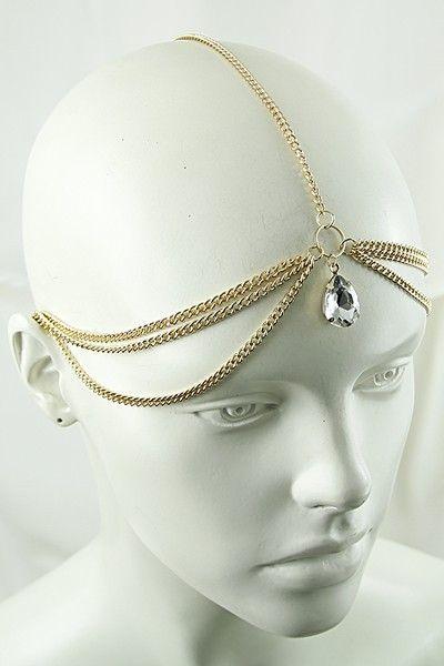 Bohemian Retro Women Drop Chain Jewelry Forehead Dance Headpiece Headband RE