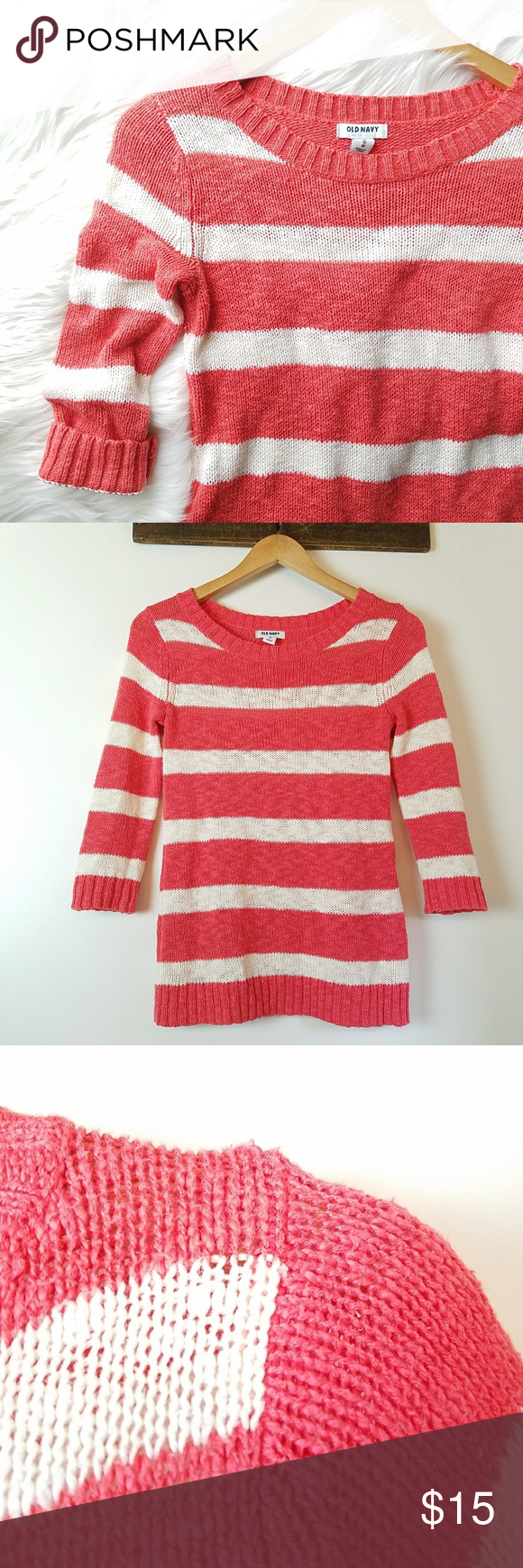 Old Navy Striped Sweater | Coral color, Navy stripes and Navy sweaters