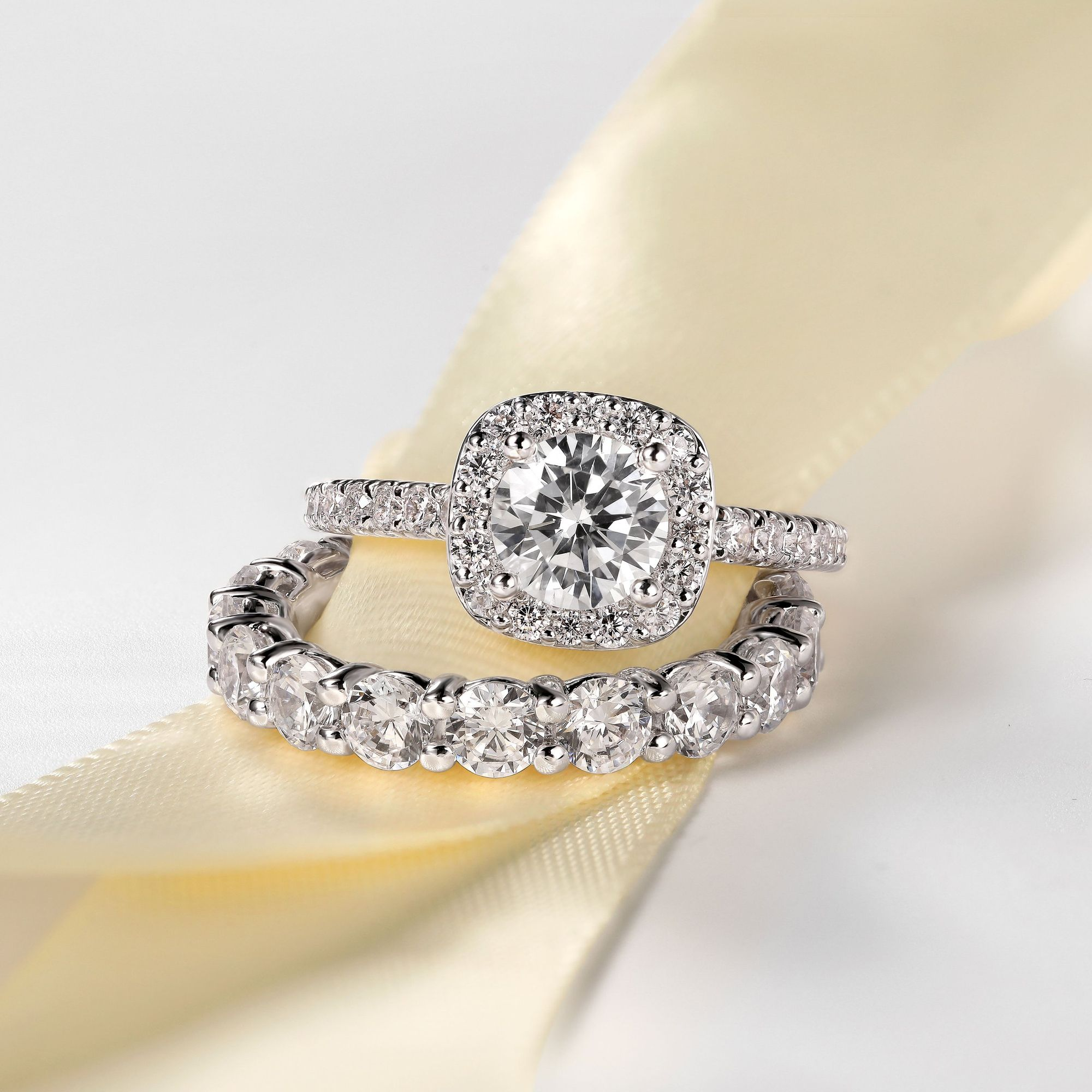 When Two Become One Contemporary Styled Engagement Ring Paired Wi In 2020 Diamond Engagement Rings Round Diamond Engagement Rings Halo Round Diamond Engagement Rings